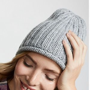 NWT Free People Rory Ribbed Beanie Hat Grey